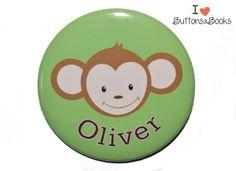 Namensbutton+Affe+Ansteckbutton+50mm+groß+++von+Buttons&Books+auf+DaWanda.com