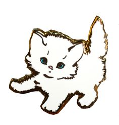 """How sweet is this white lil' kitty pin? Its the cutest addition to any outfit! Description: Hard enamel pin , 18k gold metal-plated, 1.25"""" wide, and it comes with a rubber clutch backing. Handmade by"""