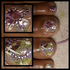 toes awesome lov them Painted Toe Nails, Painted Nail Art, Hand Painted, Funky Nail Art, Funky Nails, New Nail Designs, Pretty Nail Designs, Great Nails, Cute Nails