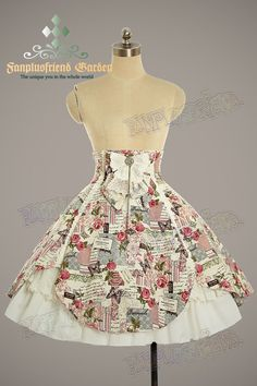 Skirt&Hairdress ONLY (*other items in the sample pictures are sold separately);  made by cream thick ramie cotton with rose and letter prints,