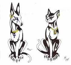 This is my Anubis and Bastet together to make a pair that LittleMushu will have as tats hopfully lol anywho hoep you like them. Anubis and Bastet Pair Bast Tattoo, Anubis Tattoo, Egyptian Cat Tattoos, Egyptian Cats, Egyptian Goddess Tattoo, Egyptian Anubis, Pair Tattoos, Body Art Tattoos, Tatoo