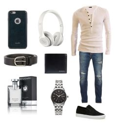 """""""guys outfit"""" by nsommers15 on Polyvore featuring Nudie Jeans Co., Lacoste, Citizen, Burberry, Beats by Dr. Dre, Dsquared2, Moshi, Bulgari, men's fashion and menswear"""