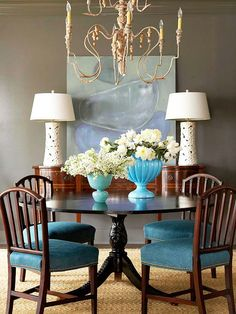 I love the splashes of turquoise against the rich gray-brown walls. The soft turquoise art is the perfect finishing touch. {via BHG Style Spotters: Four Ways to Define Your Signature Style}