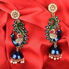Karigari Peacock Jhumka Earrings