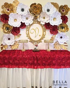 Invitations | Event Decor | Paper Flowers | Fresh Flowers | Event Planning | Favors | Custom Signs |Rentals| Vinyl •LA-OC•Bellasimpressions@yahoo.com  Beauty & the Beast Themed table • enchanted rose • paper flower art • dessert table • paper flower backdrop • red and gold theme party