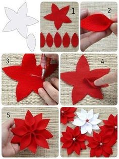 Christmas star The Effective Pictures We Offer You About DIY Fabric Flowers pattern A quality picture can tell you many things. You can find the most beautiful pictures that can be presented to you ab Felt Christmas Decorations, Felt Christmas Ornaments, Christmas Wreaths, Christmas Crafts, Christmas Tree, Crochet Ornaments, Christmas Poinsettia, Crochet Snowflakes, Diy Ornaments