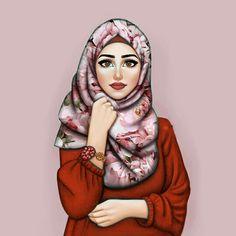 Beauty in hijab Girly M, Beautiful Girl Drawing, Cute Girl Drawing, Hijabi Girl, Girl Hijab, Bff Abbildungen, Sarra Art, Hijab Drawing, Islamic Cartoon
