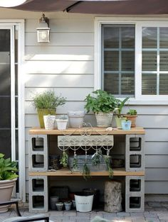 Potting Table made from Practical Cinder Blocks
