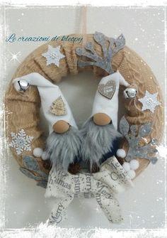 Ghirlanda natalizia gnomi di natale colori shabby le creazioni di kleopy