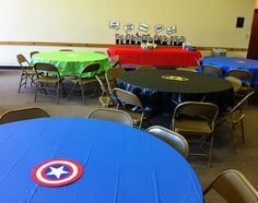 superhero / comic book birthday party cape tables . . . free printable!