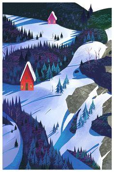 / winter woodland / by mike yamada / illustration / Art And Illustration, Woodland Illustration, Mountain Illustration, Anime Body, Anime W, Bts Design Graphique, Anime Pokemon, Poster Design, Winter Art