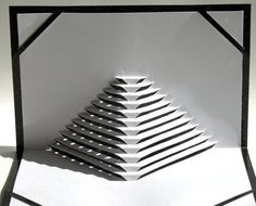 Pop Up Origamic Architecture Home Decor Card HANDMADE With Intricate Pyramid Stairs To Success, in White and Metallic Shimmery Black.
