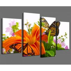 oil spray paint butterflies | Lily and Butterfly Home Wall Decoration Modern Oil Painting on Canvas #OilPaintingButterfly