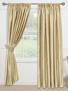 Chenille Gold Curtains - for the ultimate luxury in your home, these glistening gold curtains will give your room a glamorous finish. #curtains #chenile