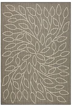Grey Leaf Swirl Rug (homedecorators)