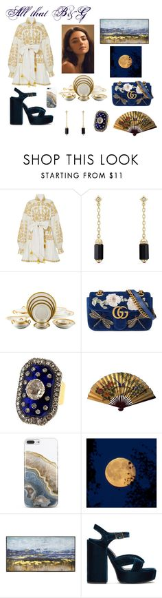 """""""All that Blue & Gold"""" by mariaposada ❤ liked on Polyvore featuring Yuliya Magdych, David Yurman, Haviland, Gucci, Nicole Miller, New View and Jil Sander"""