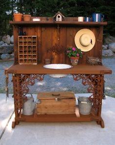 DIY Potting Bench | Creative DIY Potting Bench. Love the iron work. | Wallace Gardens