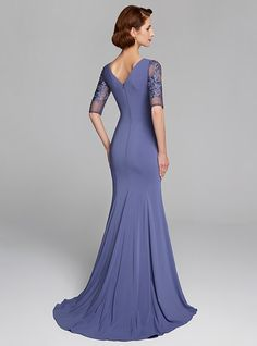 Mermaid / Trumpet Jewel Neck Sweep / Brush Train Crepe / Lace Half Sleeve Mother of the Bride Dress with Lace 2020 2020 - £ Mother Of Groom Dresses, Mothers Dresses, Mother Of The Bride, Mob Dresses, Bridesmaid Dresses, Wedding Dresses, Yellow Pencil Skirt Outfit, Vestidos Mob, Long Sleeve Evening Dresses