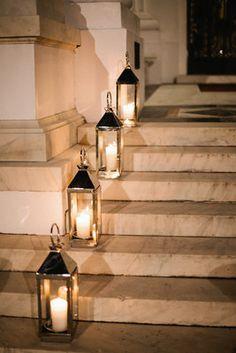 Photo via Formal, Pink, Seashell-Themed Wedding - Candles, Museum, Hurricane. Wedding Stairs, Wedding Walkway, Wedding Lanterns, Candle Lanterns, Gold Lanterns, Formal Wedding Decor, Wedding Decorations, Marble Candle, Stair Decor