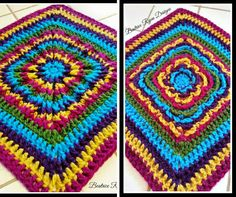 There's no right or wrong side with this Reversible Rainbow Burst Square