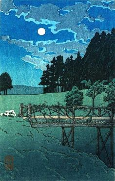 Moon over Akebi Bridge, by 川瀬巴水 Kawase Hasui (1883-1957), 1935