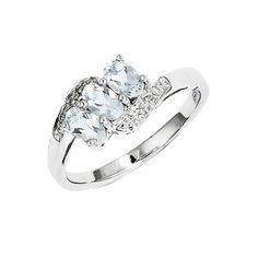 925 Rhodium Flashed Silver 3-Stone Oval Form Aquamarine and Diamond Ring