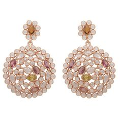 Rose Gold Tourmaline And Sliced Crystal Drop Earrings ($220) ❤ liked on Polyvore featuring jewelry, earrings, tourmaline earrings, crystal jewellery, crystal earrings, drop earrings and pink gold jewelry