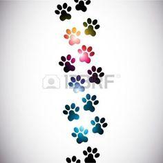 patte de chat: abstraites colorées empreintes de pattes