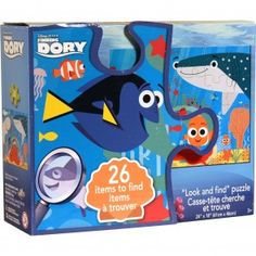 """Finding Dory Look-And-Find Puzzle $22.99 www.mundyshops.com Free Shipping on orders of $75 or more It's a puzzle! It's a game! It's a puzzle AND game! Assemble the puzzle that features hidden objects within it. Once assembled, look on the back of the box for a list of all the hidden objects, then try to find them within the puzzle! Children can race each other to find the objects. Puzzle dimensions 18"""" x 24"""" (45.7 cm x 61 cm)."""