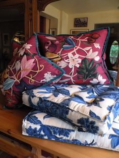 Custom pillows by Kathleen Mullaney, note the luxurious fabrics and delightful flanges, details!