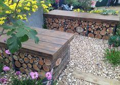 gabion stone basket planter seat with bricks Retaining Wall Patio, Gabion Wall, Front Gardens, Outdoor Gardens, Eco Garden, Garden Ideas, Gabion Baskets, Beautiful Home Gardens, Back Garden Design