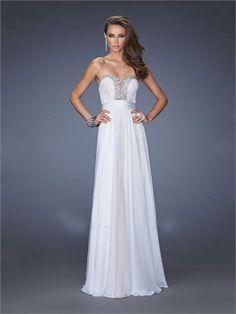Deep Sweetheart Beadings Cutout Back Lace Chiffon Prom Dress PD11635
