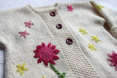 Ravelry: Pitsikudujas Simona 1-year jacket, another version of the Drops jacket, so cute with embroidery.