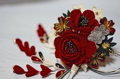 Japanese Hairstyle, Kanzashi Flowers, Flower Crafts, Ribbon, Hair Accessories, Tableware, Places, Jewelry, Design