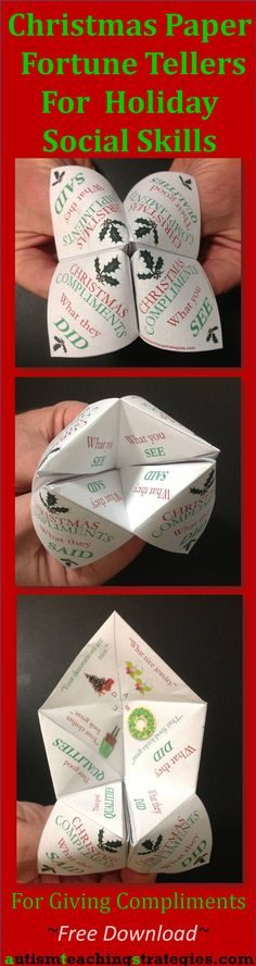 This free download lets you make a paper fortune teller to promote giving compliments in sixteen different holiday scenarios.  Designed for HFA children, but it might work for others, too :)