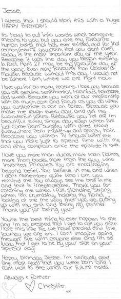 Ein (wörtlicher) Brief an Jesse: Alles Gute zum Geburtstag. # … Una carta (literal) a Jesse: feliz cumpleaños. # … # The post Una carta (literal) a Jesse: feliz cumpleaños. Birthday Wishes For Boyfriend, Birthday Gifts For Best Friend, Birthday For Him, Birthday Love, Birthday Letters To Boyfriend, Birthday Paragraph For Boyfriend, Best Friend Birthday Letter, Anniversary Letter To Boyfriend, Teen Birthday Gifts