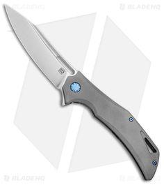 """Olamic Cutlery Swish Flipper Frame Lock Knife Darkblast w/ Blue HW (3.75"""" Satin)"""