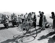 History - Tour de France 1952: Fausto Coppi wins his 2nd title by winning 3 stages w/mountaintop finishes--Alpe d'Huez, Sestrieres & Puy de Dome