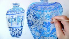 Ming Vases - Oil Pastel Then Scratch Art Over Gesso