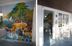 Paint by number wall mural- find a paint by number kit on e-bay, project it on your wall, fill in the spaces!