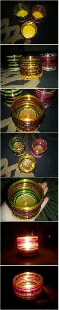 Candle holder made with bangles along with homemade painted wax diyas...#DIY #DiwaliDIY #DiwaliDecoration