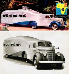 """""""streamlined Art Deco RV concoction"""" """"Ever heard of Attilio Gatti and his """"jungle yachts?"""" Picture a couple of streamlined semi-trailers, set up as luxury living quarters, cruising African Congo in 1938 to The expedition was spon Camping Vintage, Vintage Rv, Vintage Campers, Cool Campers, Rv Campers, Streamline Art, Cool Rvs, Course Automobile, Vintage Travel Trailers"""