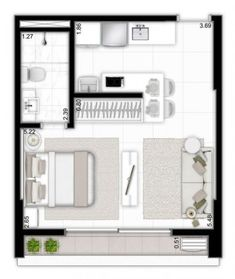 Architektur haus ,Grundrisse Wohnung Small Plan Studio Apt 33 Ideen The Garden As Healer Small Apartment Plans, Studio Apartment Floor Plans, Studio Apartment Layout, Studio Layout, Studio Apt, Small Apartments, Apartment Design, Small Apartment Layout, Small Studio
