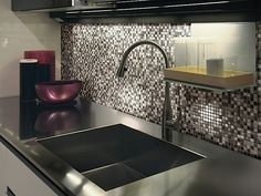 Stainless Steel Tile Backsplash Aluminum Brushed Strip Silver Mix @ MineralTiles.com