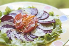 Beet carpaccio with cucumber and carrot