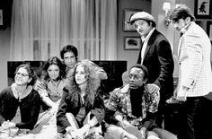 """The original 1975 """"Saturday Night Live"""" cast: from left, Gilda Radner, Jane Curtin, Chevy Chase, Laraine Newman, Garrett Morris, John Belushi and Dan Aykroyd."""