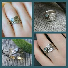 Sage and Moonstone...Sage Leaf Ring with Rainbow by joannerowan, $129.00