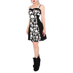 Royal Bones Muerte Skulls Black Dress | Hot Topic ($30) ❤ liked on Polyvore featuring dresses, hot topic, sweetheart neck dress, skull dress, summer dresses, sweetheart neckline dress and sweetheart summer dress