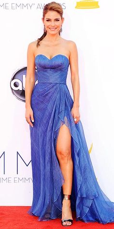 At first, I thought Maria Menounos' gown was made of denim, like Britney Spears circa 2001. #emmys