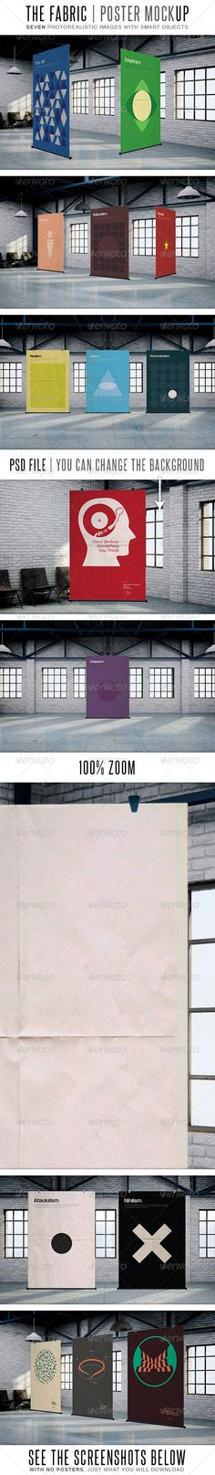 The Fabric MockUp 7 PSD images files Easily editable via smart object High resolution > 2500×1563 Photo-realistic Different backgrounds (customizable) Suitable for posters that are A4, A3, A2, A1 http://startupstacks.com/graphics/fabric-mockup.html - free download
